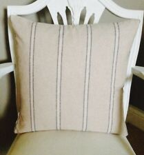 French Linen Look Vintage Blue/Beige Stripe Shabby Chic Cushion Cover