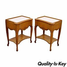 Vintage Pair of French Country Louis XV Style Leather Top Nightstands End Table