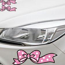 A Pair Pink Bow Sticker Car Bumper Van Window Laptop JDW VINYL Decals Stickers