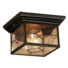 Bronze Outdoor Flush Mount Light Fixture Ceiling Clear Seeded Glass Patio Decor