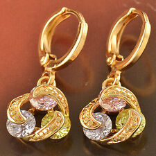 Attractive 9K Yellow Gold Filled 3-Colour Cubic Zirconia Dangle Earrings,F2305