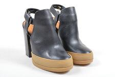 Chloe NIB $995 Black Leather Platform Closed Toe Heeled Sandal Booties SZ 37.5