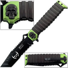 """MTECH USA 9.5"""" TANTO SKULL GREEN SAWBACK SPRING ASSISTED TACTICAL FOLDING KNIFE"""