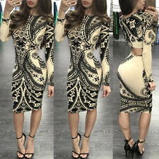 Women Lady Pencil Slim Bodycon Long Sleeve Evening Cocktail Party Mini Dress M^
