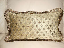 LAST PAIR! NEW Taupe Beige Diamond VELVET Oblong Cushion covers & silky fringe
