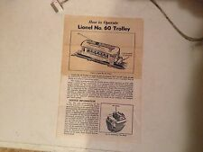 LIONEL POSTWAR TRAIN PAPERWORK 60 TROLLEY 8-55
