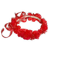 Wedding Silk Flower Band Halo Flower Girl Head Piece Solid Color - Red
