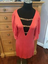 Ema Savahl Couture Coral Red Dress Women's Size Medium