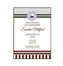 Cupcake Party Theme PERSONALIZED Birthday Bridal Shower Invitations - Set of 16