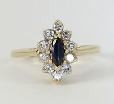 Diamond sapphire ring 14K yellow gold halo marquise round brilliant .85CT size 6