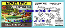 Corgi Toys GS 31 Buick Riviera Boat Gift Set Instruction Leaflet & Poster Sign