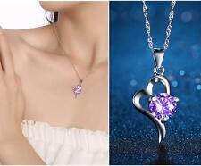 2016 New products 925 silver Cordate necklace women fashion jewelry Purple Gifts