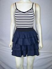 METRO PARK Black White Striped Denim Spaghetti Strap Above Knee Dress XS 1 3