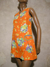 CHIC VINTAGE MINI ROBE POP 1970 VTG MINI DRESS 70s KLEID 70er ABITO RETRO (36)