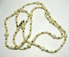 GENUINE PEARL NECKLACE STRAND STRING GOLD BEADS 36 INCHES LONG WHITE