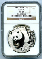 2002 1 OZ SILVER CHINA PANDA 10 YN NGC MS69 PROOF LIKE .999 FINE S10Y CHINESE