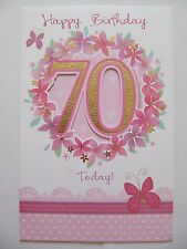 BEAUTIFUL GLITTER COATED FLOWERS 70 TODAY 70TH BIRTHDAY GREETING CARD