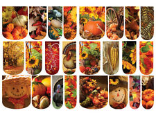 24 WATER SLIDE NAIL DECALS * FALL THANKSGIVING - PHOTO REALISTIC  * FULL COVERS