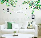 Large Tree Branch Two Bird Cages Wall Sticker Decal Removable Decor Home Art