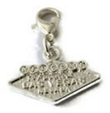 SMALL 3D SILVER WELCOME TO LAS VEGAS SIGN  CLIP ON CHARM - 15mmx20m-SILVER PLATE