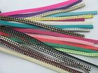19CLR-10 Yds 5.0x1.5mm Soft Velvet Leather Cord Suede Lace With Rhinestone Beads