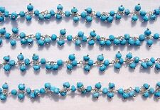 2 Feet 925 Sterling Silver Natural TURQUOISE Gemstone Faceted Cluster Link Chain