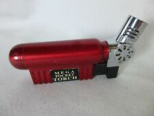 Mega Pocket Torch Butane Lighter Red and Chrome