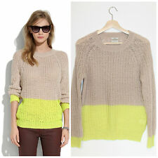 Madewell Wallace Beige Citron Colorblock Chunky Slouch Ex-boyfriend Sweater S