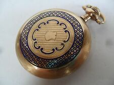 Vintage South Bend Blue Enamel Open Face Gold Filled 16 Size Pocket Watch Runs