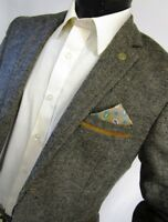 Mens Designer Tweed Herringbone Vintage Coat Jacket  Blazer Tailored Fit