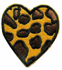 """3"""" Leopard Print Heart Embroidery Iron On Applique Patch"""