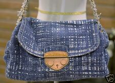 PRADA TELA Light Blue Tweed Flap Front Chain Link Shoulder Bag $1350 BR4567 orig