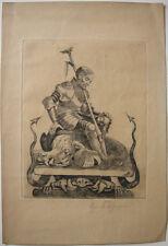 Hans Thoma (1839-1924) Der Heilige Georg Orig Radierung 1913 signiert