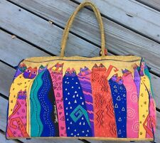 Laurel Burch Gold & Blue Hand Painted Cats Large Duffle Travel Weekend Tote Bag