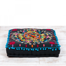 Boutique Camping Embroidered Suzani Square Floor Cushion - Black