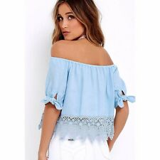 Summer Women Tank Fashion Short Sleeve Loose Casual Tops Lace Blouse T-Shirt L