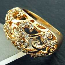 N850 GENUINE REAL 18K YELLOW G/F GOLD DIAMOND SIMULATED WOMENS RETRO LADIES RING