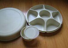 Tupperware SERVING CENTER SET Party Buffet Tray for Veggies Taco Fixings Dips