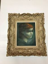 Robert J. Lee Listed Artist Oil on Canvas Painting Titled HEAD of a CHILD 1970's