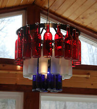 Unique Three Tier Bottle Chandelier Light Made in the USA, wine, wine bottle