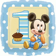 "MICKEY MOUSE 1ST BIRTHDAY PARTY SUPPLIES 17"" BABY BOY FOIL BALLOON"