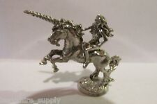 Pewter  Unicorn With Maiden Goddess  Figurine