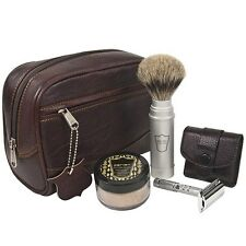 Parker TRAVEL Kit - Leather Dopp Bag, Travel PB Shave Brush, Safety Razor & Soap