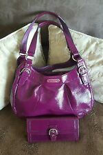 COACH F19705 SOHO PATENT LEATHER HOBO SHOULDER BAG WITH MATCHING WALLET SV/PLUM