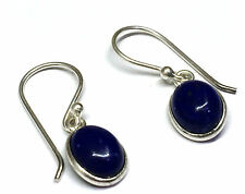 Handmade in 925 Sterling Silver, Real Lapis Lazuli Oval Drop Earrings With Box