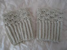 Handmade Crochet BOOT CUFFS LEG WARMERS Ivory Trendy Fashion Style Accessories