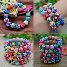 High Hot Fashion Newly Polymer Clay Flower Colorful Round Beads Bracelet Gift
