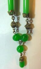 Vtg Czech Art Deco Necklace Dangle Pendant Lavalier Flapper Green Glass Filigree