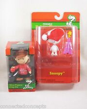 Christmas Peanuts Snoopy Poseable Holiday Figure and Charlie Brown Mini Figure