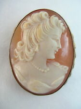 FINE VINTAGE GOLD ON SOLID SILVER SHELL CAMEO BROOCH PIN & PENDANT - VGC